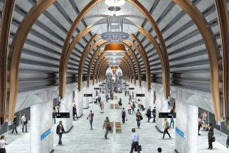 An artist's impression of what the finished platform will look like at State Library Station.