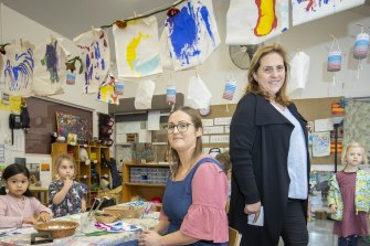 Early education student Sally Lamb (left) and childcare centre director Anna Chiera say instances of bullying are rare.