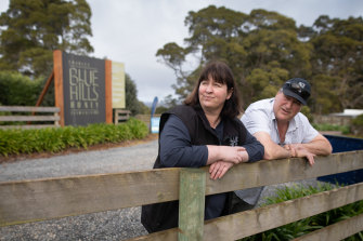 Beekeeper Nicola Charles and her husband Robbie at their property in Tasmania.