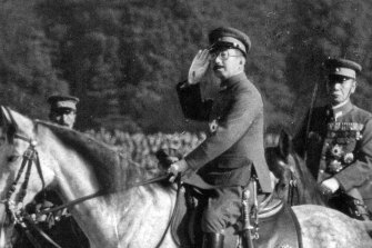 Emperor Hirohito seen in the last months of World War II. The Japanese were reluctant to surrender until his future was secure.