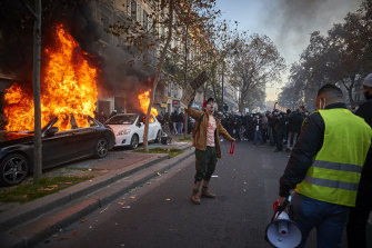 Protests in Paris against the proposed security law.