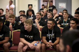 Young rugby league players listen during NRL workshops, given by the Wellbeing and Engagement Programs Department.