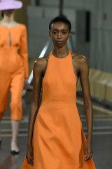 Orange crush ... a model at Emilia Wickstead.