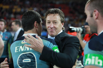 Blues coach Craig Bellamy and hooker Michael Ennis after the game three win.