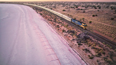 The Indian Pacific train travels from Sydney to Perth via Adelaide, crossing the Nullarbor Plain on its 4352-kilometre journey.