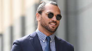 Karmichael Hunt arriving at court on Monday. One of the drugs charges had been dropped by Friday.