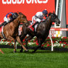 Jonker, ridden by Daniel Moor, wins the Manikato Stakes at Moonee Valley on Friday night.