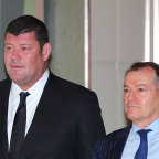 James Packer and John Alexander (right), arrive to attend the Crown Resorts annual general meeting in 2017. Both men have been called to give evidence.