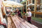 A restaurant in Exhibition Street, in Melbourne's CBD, prepares to welcome customers.