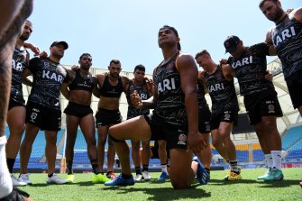 Latrell Mitchell and his Indigenous All Stars teammates practise the war cry they will perform before the All Stars clash on Saturday night.