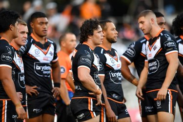 The Tigers go through the motions after another Cowboys try at Leichhardt Oval.