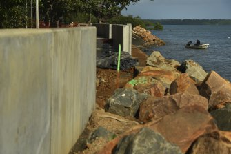 Locals say a recently constructed sea wall will only keep the water at bay for so long.