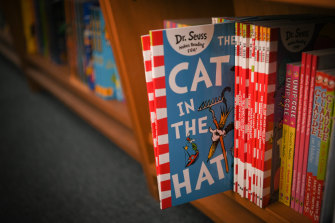 Dr Seuss books on the shelves at the Younger Sun bookshop in Yarraville, Melbourne.