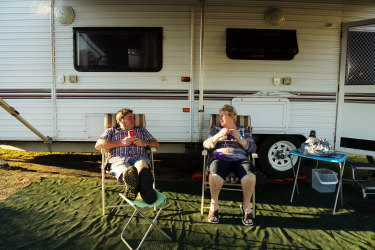 Grey nomads Gary and Karen Kennedy from Shepparton in Victoria have been stuck in Ballina in far northern NSW waiting for the Queensland border to open so they can continue their annual migration north to escape the chill of the southern winter.