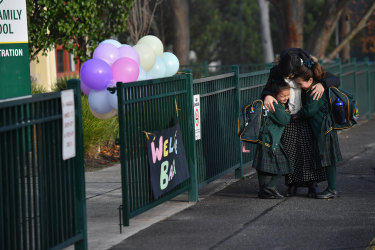 Among the children returning to school today were Amelia Younane's daughters Cecilia Younane (grade 2) and Lila (prep).