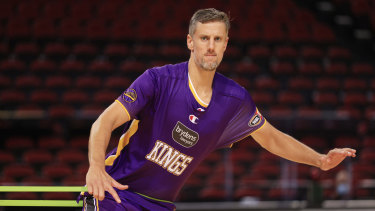 Daniel Kickert of the Kings warms up during the NBL pre-season game between the Sydney Kings and the Hawks in Sydney on December 20.