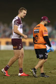 Tom Trbojevic trudges off after injuring his hamstring against the Raiders in round six last season.