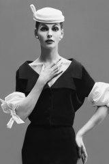 Model Georgia Hamilton wearing Balenciaga bubble sleeve dress, 1953.
