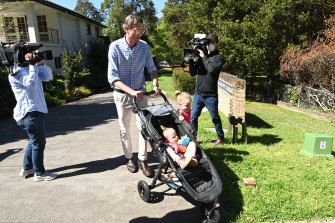 Still the favourite: Dominic Perrottet outside his Beecroft home on Monday.