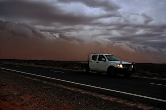 A line of storms along a southerly change lifted dust in Western NSW.