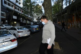 Michael Greenfield leaving Sydney Police Centre.