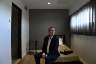 CEO and superintendent of Wesley Mission, Reverend Stuart Cameron in one of the bedrooms in the accommodation area at the newly refurbished Wesley Edward Eagar Centre in Surry Hills.
