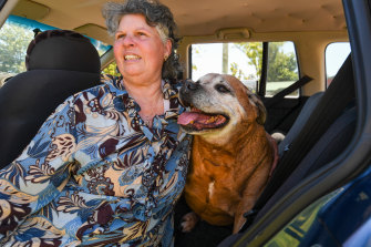 Kathleen Glover is hoping to move back into her home in Mogo before Luckford the dog dies.