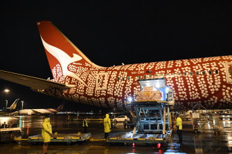 Some 450,000 Pfizer doses from the UK arrived on a Qantas cargo into Sydney on Sunday night.