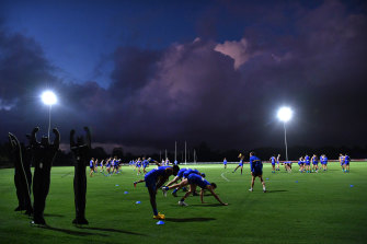 West Coast players train at Metricon Stadium on the Gold Coast.