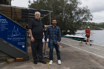 Owners of The Boatshed Cafe and Bar and Limani Jim Kritsotakis and his son Peter.
