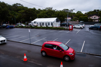 The drive-through COVID-19 testing station in Avalon on Sunday after the northern beaches outbreak.