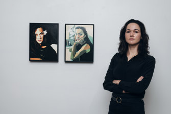 Thea Perkins with her work at N. Smith Gallery in Paddington.