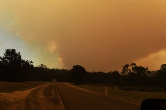 The Gospers Mountain fire in the Wollemi National Park burns strongly under westerly winds on Thursday.