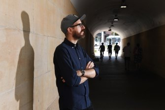 Andy Friedhof under the sandstone overpass at Central station which he helped repair as a young engineer.