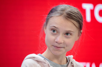 Greta Thunberg during a panel talk at Davos.