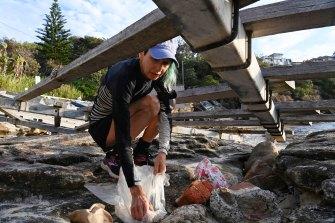 Marina DeBris collects rubbish at Gordons Bay.