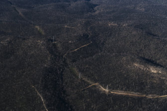 Part of the heavily burnt catchment of Lake Burragorang and Warragamba Dam, west of Sydney.