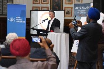 Former Australian Test captain Steve Waugh at the function announcing the multifaith music festival.