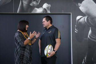 Former Rugby Australia boss Raelene Castle and Dave Rennie at the Wallabies coach's unveiling in January.