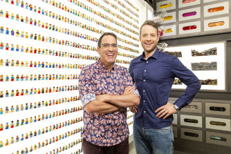 Hamish Blake and Ryan McNaught, hosts of Lego Masters.