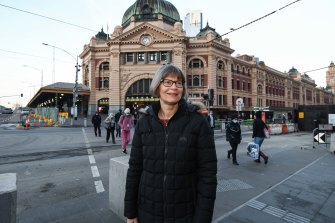 Fiona Athersmith, 57, was excited to no longer have to wear a mask at the office.