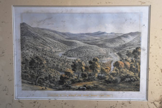 The lithograph by Eugene von Guerard of the Buchan and Snowy Rivers. Donald Graham took the picture from his home before it burnt to the ground.