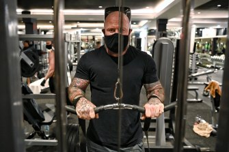 Pete Lennon exercising at City Gym on Monday morning.