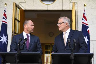 Treasurer Josh Frydenberg and Prime Minster Scott Morrison  announce their stimulus package.
