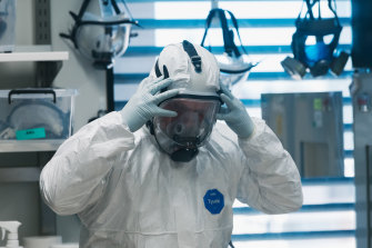 Full protective suits and positive-pressure respirators must be worn to work with the virus.