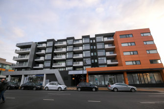 Ariel apartment building in Maribynong in western Melbourne is in lockdown after a person from NSW who tested positive visited the location.