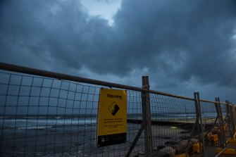 Collaroy Beach on Monday morning as a damaging and hazardous surf warning was in place for Sydney's coast.