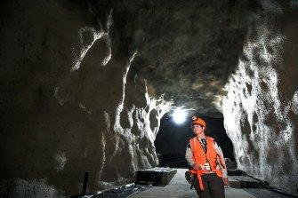 Professor Elisabetta Barberio stands inside the underground lab.