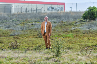 Avalon Airport chief executive Justin Giddings on land proposed for quarantine cabins.