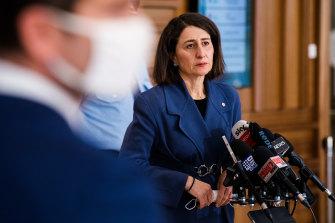 NSW Premier Gladys Berejiklian at Wednesday's COVID-19 briefing.